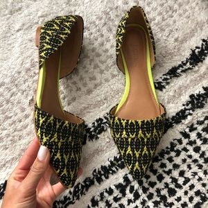 J. Crew Graphic Woven d'orsay Flats